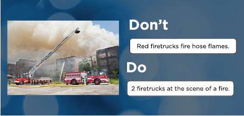A bad example of alt-text and a good example of alt-text when talking about fire trucks