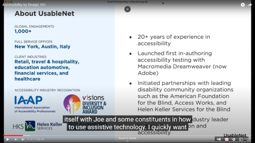 Screenshot of a video with captions.