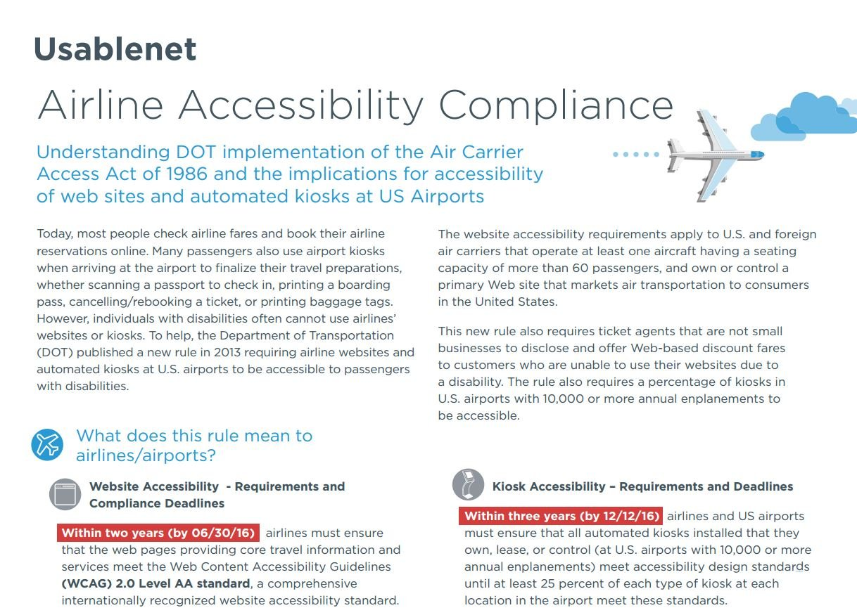 Airline Accessibility Compliance White Paper