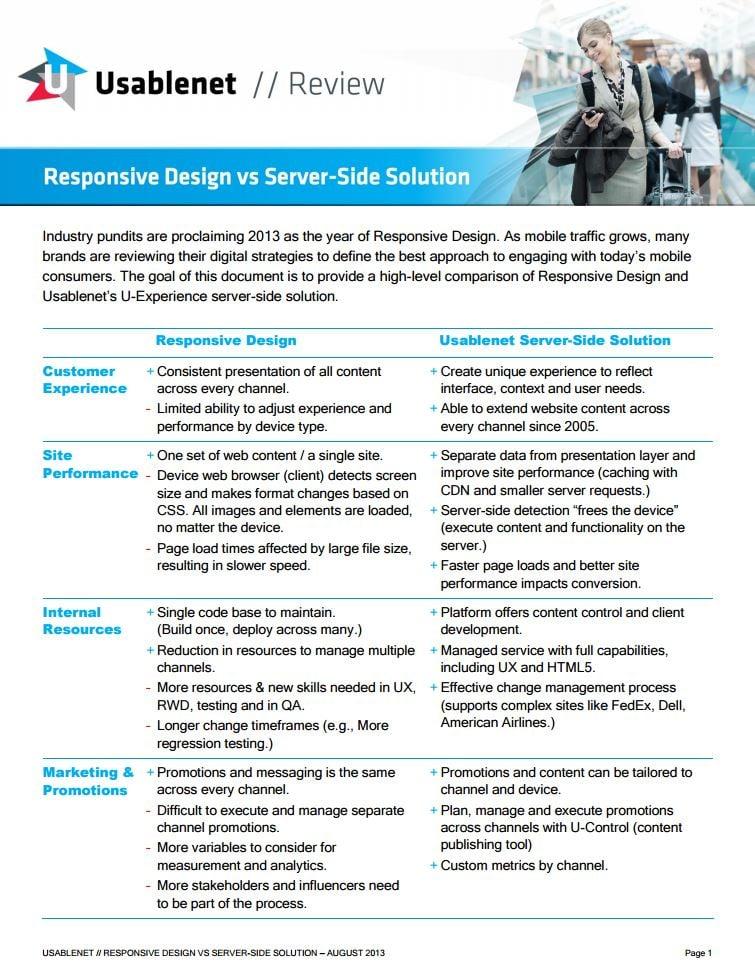 Usablenet - Responsive Design vs  Server Side Solution