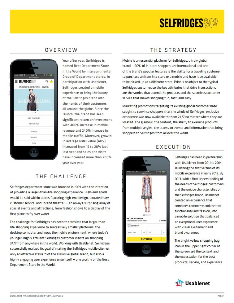 Selfridges Case Study
