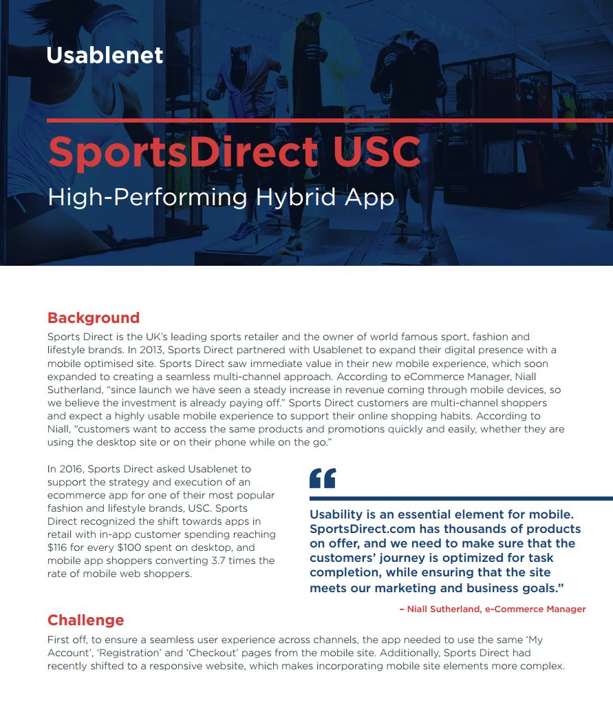 Sports Direct Case Study, High-performing hybrid app