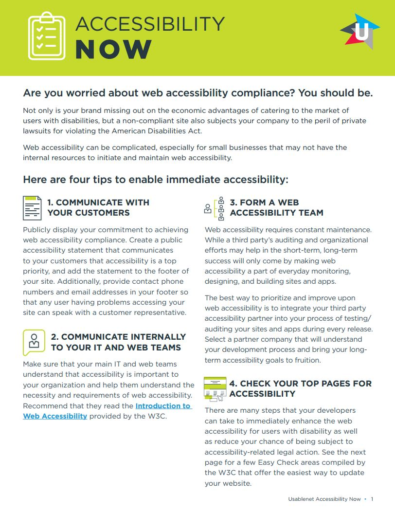 Web Accessibility Now White Paper