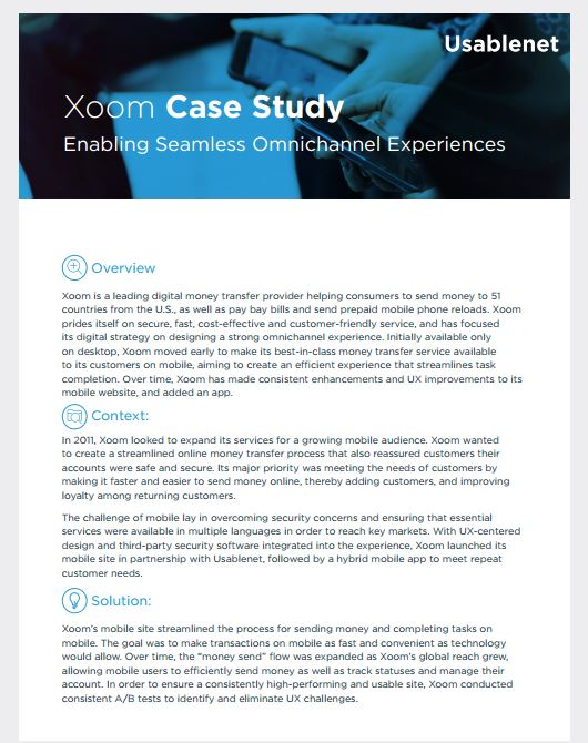 Usablenet - Xoom: Enabling Seamless Omnichannel Experiences [Case Study]