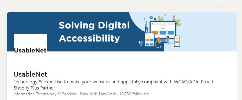 screenshot of usablenet's linkedin profile